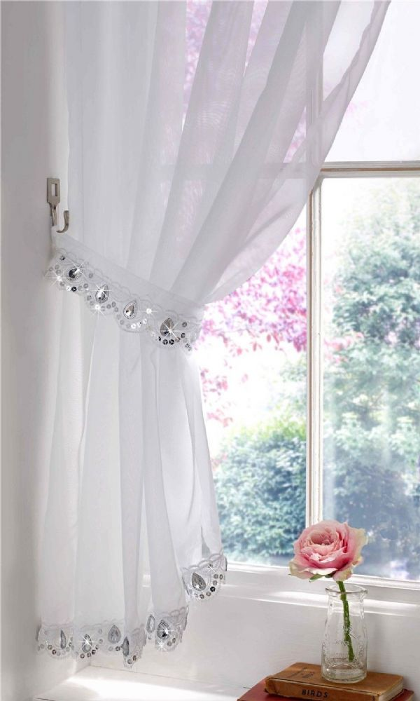 Crystal Sparkles Jewelled Sequin Trim White Voile Curtain